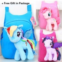 2 in 1 Kids Baby Super Soft Unicorn Plush Horse + School Travel Shoulder Bag Backpacks - BLUE