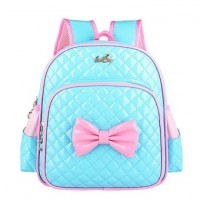 2-8 Years Kids Little Girls School Bag Kindergarten School Backpack Satchel for Preschool Bookbag PU  Blue