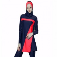 2017 Women Plus Size Muslim Swimwear Beach Bathing Suit Muslimah Islamic Swimsuit Swim Surf Wear Sport Clothing Blue&Red