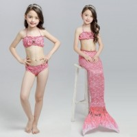 2017 Summer Girl Kids Mermaid Tail Swimwear Children Bikini Bathing Suit Swimsuit Beach Wear (Pink)