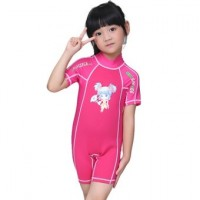 1.5mm Neoprene Kids Girls Swimsuit Short Sleeve Swim Diving Snorkeling Rashguard Suit Shorty Wetsuits  Pink
