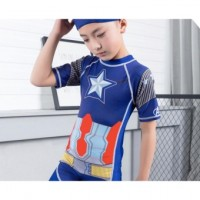 2017 summer new fashion captain America children swim wear baby boys swimwear beach surfing warm spa kids swimsuit