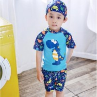 2017 new fashion short sleeve years old baby boys swimwear spa hot spring beach kids children boys two pieces sun block swim wear