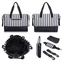 5 IN 1 Changing Bag Messenger Tote Handbag Large Capacity Baby Diaper Nappy Bag Striped Mummy Bags(Black)