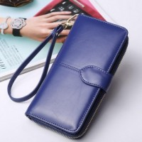 Wallets Zipper Long Purses Coin Purse Dark Blue