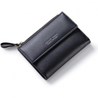 Women Wallet Pu Leather Mini Coin Purses Small Zipper Short Wallets ID Black