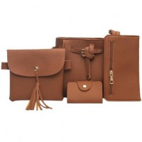 4pcs New Women PU Leather Wallet Lace-up Shoulder Bag (Brown)