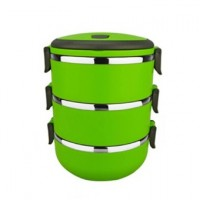 3 Layer Stainless Steel Lunch Box Food Container (GREEN)