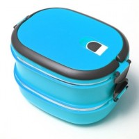 2 Layers Thermal Insulated Lunch Box Case Stainless Steel Camping Food Container