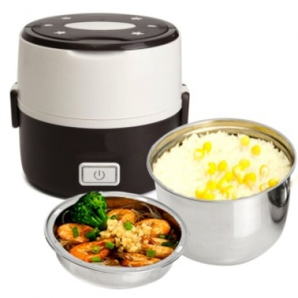Electric 1.3L Lunch Box Mini Rice Cooker Steamer 2 Layer