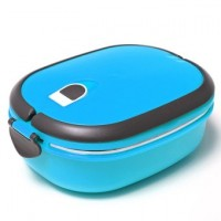 1 Layers Stainless Steel Lunch Box Picnic Storage Box Insulated Thermal Blue
