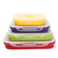 4Pcs Silicone Eco Collapsible Lunch Box Portable Folding Food Storage Containers