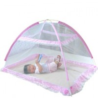 Mosquito Net Tent Foldable Portable Crib Netting (Pink)
