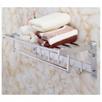 2 Tier Aluminium Bathroom Towel Rack with Hook