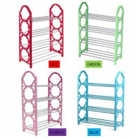 4 Tiers Shoe Rack 4 Layer Shoe Rack Silver Display Shoes Storage (Random Color)
