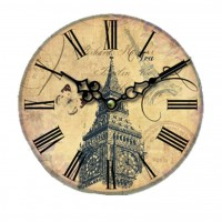 34CM Vintage European Style Wooden Wall Clock