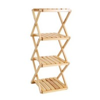 4-Tiers / 4 layers Foldable Rustic Household Wooden Shelf Rack Plant Stand