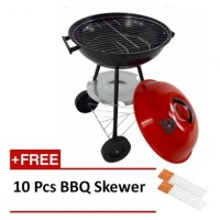 17 Inch Charcoal Apple Portable BBQ Grill Set (Free 10 Pcs BBQ Skewer)