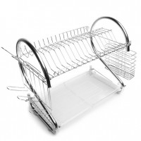 2-tier Kitchen Storage Rack S Shape Dish Drainer
