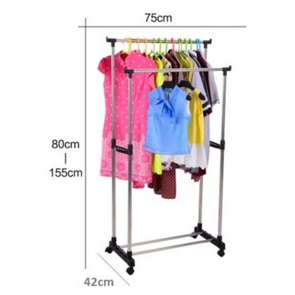 (Adjustable Height Full Stainless Steel) Portable Double Pole Clothes Hanging Rack Stand