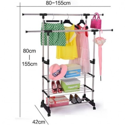 (Adjustable Height & Length Stainless Steel) Portable Double Pole Clothes Hanging Drying Rack Stand