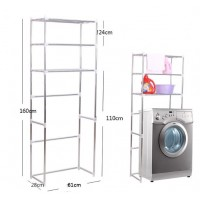 3-Tiers ( 68cm X 25cm X 160cm ) Stainless Steel Adjustable Washing Machine Rack and Shelf