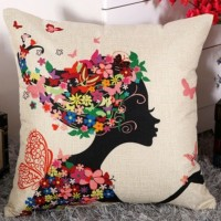 Decorative Sofa Pillow (filled / inserted)_Design 5_Woman and Flowers