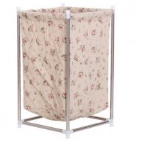 Fashionable Laundry Bin Storage Box with Stainless Steel Stand- Red Roses
