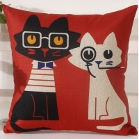 Cute Couple Kittens Sofa Pillow (filled / inserted)