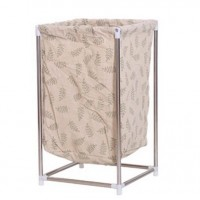 Fashionable Laundry Bin Storage Box with Stainless Steel Stand - Light Brown