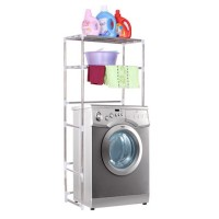 2-Tiers ( 68cm X 25cm X 136cm ) Stainless Steel Adjustable Washing Machine Rack and Shelf