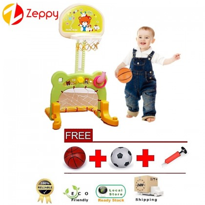 2 in 1 Kid Adjustable Height Basketball and Football Play Toy