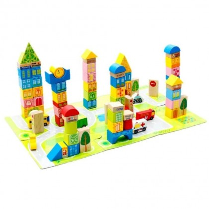 100 pcs Wooden Building Block City Simulation Car Mat Tree Wooden Block Toys Puzzle Building Blocks Kids Early Learning