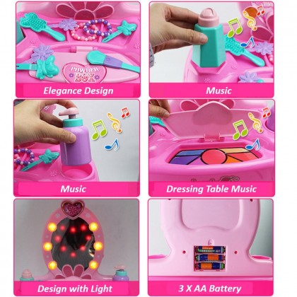 19 pcs Cosmetic Make Up Dressing Table Children Pretend Play Set Simulation Toy