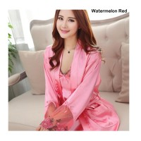 "Women Pajamas Sexy Lingerie Chiffon Dressing Gowns ""Watermelon Red"""