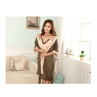 "Women Pajamas Sexy Lingerie Chiffon Dressing Gowns ""Brown Leopard"""