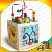 5 in 1 Learning Cube Bead Maze Montessori Wooden Kids Educational Toys