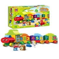 50 Pieces Colorful Number Learning Counting Train Large Size Building Blocks Puzzle