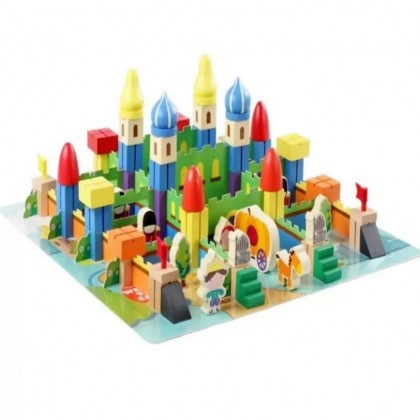178 Pieces Castle Theme Wooden Toy Building Blocks Puzzle Set