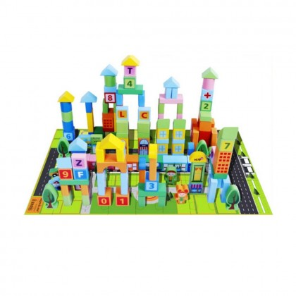 100 Pieces Wooden Blocks City Traffic and Train Building Block