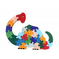2 Sides 26 Letters And Numbers Wooden Dinosaur Puzzle