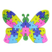 2 Sides 26 Letters and Numbers Wooden Butterfly Puzzle