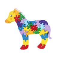 2 Sides 26 Letters and Numbers Horse Wooden Jigsaw Puzzle