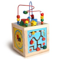 5 in 1 Learning Cube Bead Maze+Clock+Shapes+Beads Maze Wooden Educational Toys