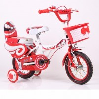 Girls Bike with Double Seat and Training Wheels 14 Inch - Red Hello Kitty