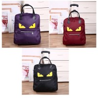 22 inches Cute Monster Evil Printed Travel Suitcase Trolley Luggage Bag