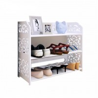 3 Tiers European Style Shoe Rack White