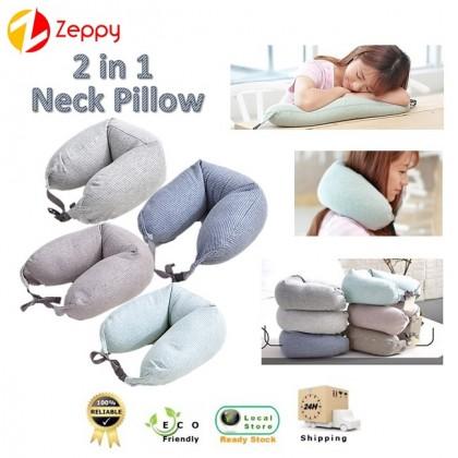 2 In 1 Comfortable Microbeads U Shape Travel Headrest Rest Neck Nap Pillow