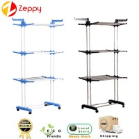 3 Tier Folding Stainless Steel Floor Clothes Hanging Drying Rack