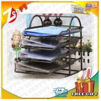 4-Tier File Document Letter Paper Tray Sorter Collection Office Desktop Organizer Holder Shelf Metal